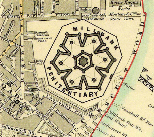 Map of Millbank Prison, London, 1862